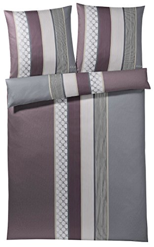 Joop! Mako Satin Bettwäsche, Cornflower Stripe, 4069-01-240x220 2x80x80 cm, deep Wine,