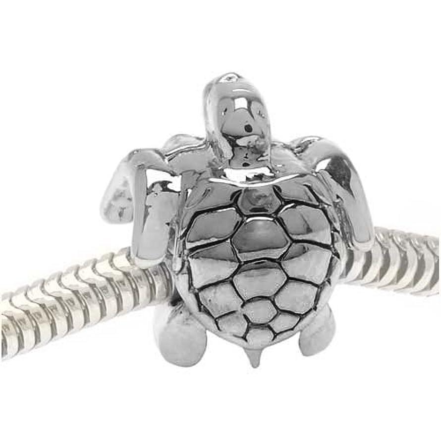 Beadaholique 2-Sided Sea Turtle Large Hole Bead, Fits Pandora, Silver Tone