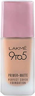 Lakme 9To5 Primer + Matte Perfect Cover Foundation, C100 Cool Ivory, 25 ml