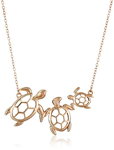 14k Rose Gold Plated Sterling Silver Turtle Family Necklace, 18""