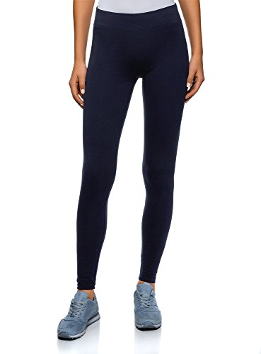 oodji Ultra Damen Jersey-Leggings Basic, Blau, DE 32 / EU 34 / XXS