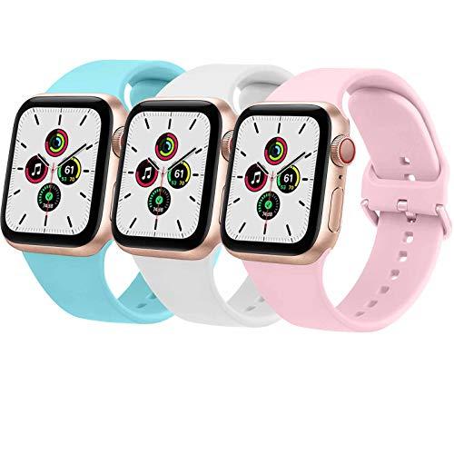 Wanme 3 Pack Correa Compatible con Apple Watch 38mm 42mm 40mm 44mm, Pulsera de Repuesto de Silicona Suave para iWatch Series SE 6 5 4 3 2 5, Mujer y Hombre (38mm/40mm,Azul Claro/Blanco/Rosa)
