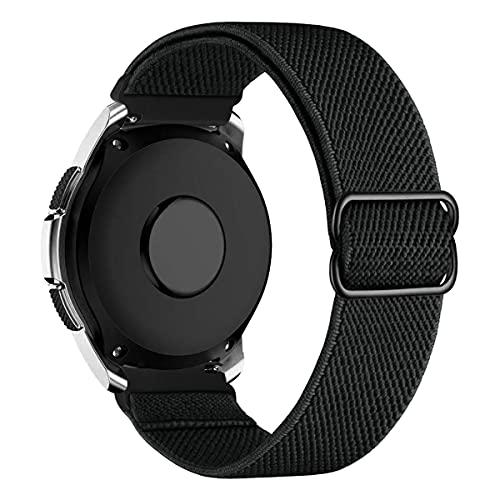 MroTech Compatible con Samsung Galaxy Active/Active2 40mm/44mm/Galaxy Watch 3 41mm/Galaxy 42mm Correa Nailon elástico 20mm Pulseras Repuesto para Huawei GT 2 42 mm Banda Nylon Woven Loop-Cuervo Negro