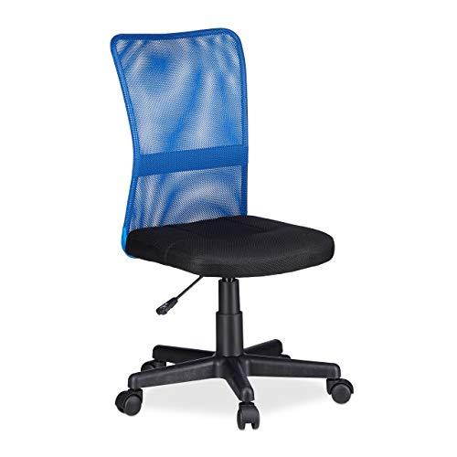 Relaxdays 10022881_45 Sedia da Ufficio Altezza Regolabile Girevole per Bambini Carico max 90 kg HxLxP: 102 x 55 x 55 cm Blu