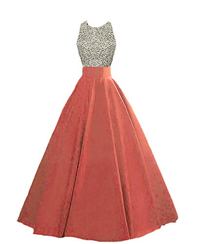 Still Waiting Women's Sparkly Crystal Beaded Prom Dresses A Line Satin Evening Formal Party Wedding Gowns C121