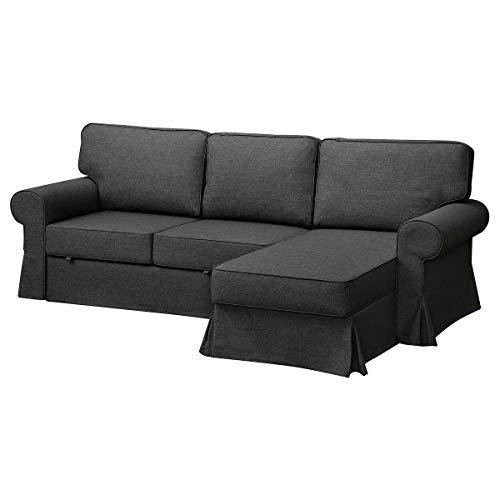 IKEA EVERTSBERG 2-Sitzer Schlafsofa 251x91cm mit Chaiselongue mit Stauraum / dunkelgrau