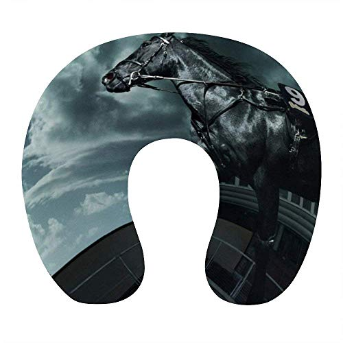 Almohada de Moda para el Cuello para Viajes en avión, Oficina en casa, cómoda Almohada para Dormir en Forma de U con Soporte para el Cuello y Funda extraíble y Lavable, Grey Sky Running Wild Horse