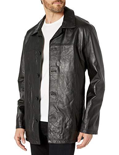 Excelled Men's Four-Button Lambskin Leather Car Coat, Black, Medium