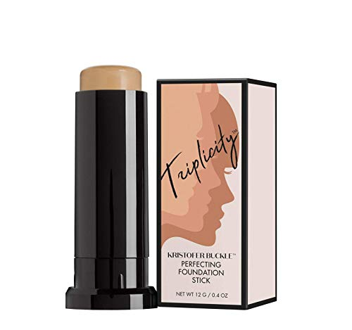 KRISTOFER BUCKLE Triplicity Perfecting Foundation Stick, 0.4 oz. | Primes Skin, Provides Buildable Coverage & Has A Soft-Focus Effect | Tan