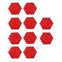 EXCEART 10本フェルトメモボードタイル六角形メッセージボードミニ壁掲示板壁用ホームスクール寮オフィスデコレーション(赤)