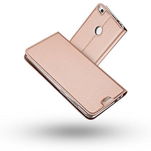 Coque Huawei P8 Lite 2017,Radoo Ultra Mince en Cuir PU Premium Housse à Rabat Coque [Antichoc TPU] Étui de Protection Bumper Folio à Clapet avec [Fermoir Magnétique] pour Huawei P8 Lite 2017(Or rose)
