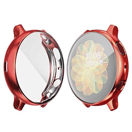 YANTAIAN para la Galaxia de Samsung del Reloj Activo 2 40mm Sombrero-Prince Caso de TPU electrochapa Cobertura Completa (Color : Red)