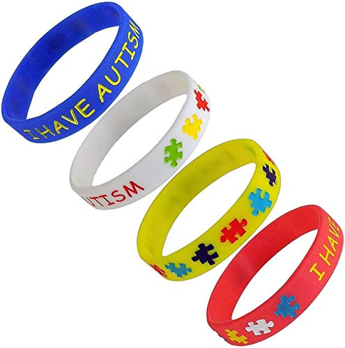 I Have Autism Awareness Bracelet Medical Alert ASD Wristband Kids Teens Adults (Large (20cm), Yellow)