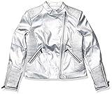 Calvin Klein Women's Fux Leather Moto Jacket, Silver, Small