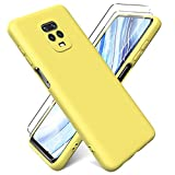 Oududianzi - Funda para Xiaomi Redmi Note 9S / Note 9 Pro + [2 Pack] Protector Pantalla, Carcasa de Silicona Líquida Gel Ultra Suave Funda con tapete de Microfibra Anti-Rasguño - Amarillo