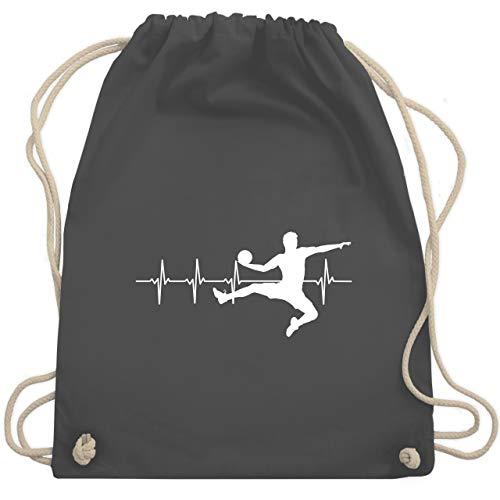 Shirtracer Handball Geschenk für Handballer - Handball Herzschlag für Herren - Unisize - Dunkelgrau - handball anhänger schlüssel - WM110 - Turnbeutel und Stoffbeutel aus Baumwolle