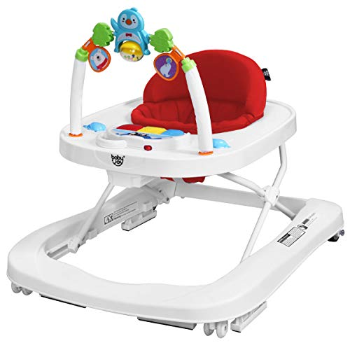 BABY JOY Baby Walker, 2 in 1 Foldable Activity Walk Behind Walker with Adjustable Height & Speed, Friction Control Functions, High Back Padded Seat, Music, Detachable Penguin Play Bar (Red)