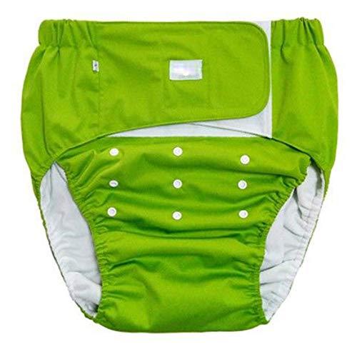 XIONGG Erwachsene Windel, Saugfähigkeit Windel, Waschbar Einstellbar Wiederverwendbare Inkontinenz Unterwäsche Erwachsene Hosen Für Ältere Menschen,Grün,XS:50~80cm