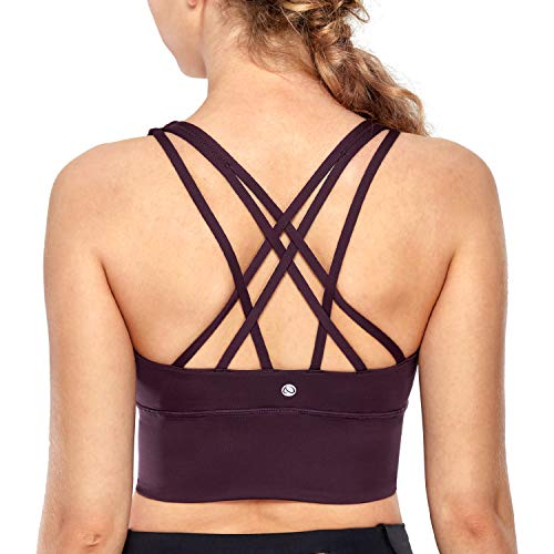 CRZ YOGA Strappy Sports Bras for Women Longline Wirefree Padded Medium Support Yoga Bra Top Dark Violet Medium