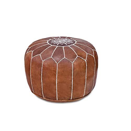 Stuffed Handmade Genuine Leather Moroccan Pouf, Ottoman (Tan)