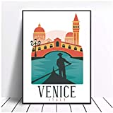 Wsxyhn Venecia Italia Lienzo Impresiones Cartel Decoración Regalo Hotel Bar Cafetería Sala De Estar Decoración del Hogar Pintura-50X70Cm Sin Marco