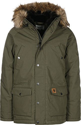 Carhartt Herren Trapper Parka Sweatjacke, Grün (Cypress/Black 063), Medium