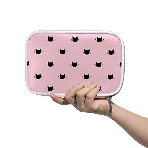 Estuche para lápices CHEHONG con diseño de cabezas de gatos, fondo rosa, gran capacidad, estuche para lápices, neceser de cosméticos con cremallera para mujeres estudiantes, 14 x 23 cm, color Color1 5.5x9 inch