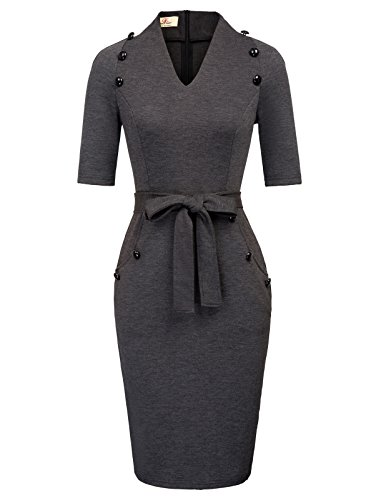 GRACE KARIN Women Wear to Work Cocktail Party Pencil Dress Solid Color S Grey