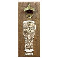 """State Craft ビール タイポグラフィ 木製 壁取り付け 磁気 ビール栓抜きとキャップキャッチャー 12""""x 5""""x.5"""" ベージュ"""