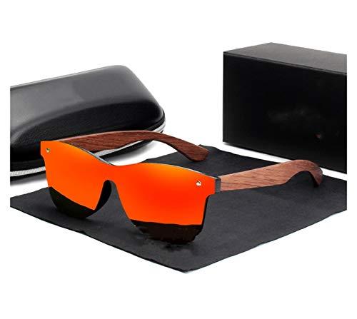 DIOXQEN Diseño clásico Gafas de Sol de Madera Natural Hombres Polarizadas Moda Gafas de Sol de Madera Original para Uso en Exteriores (Lenses Color : Red bubinga Wood)