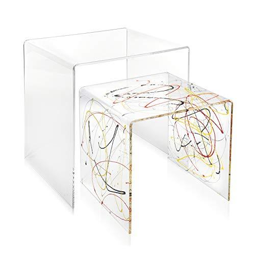 iPLEX – Set aus 2 Beistelltischen, Design 80er Jahre aus transparentem Plexiglas, Motiv: Bunte Skizze, Möbeleinrichtung