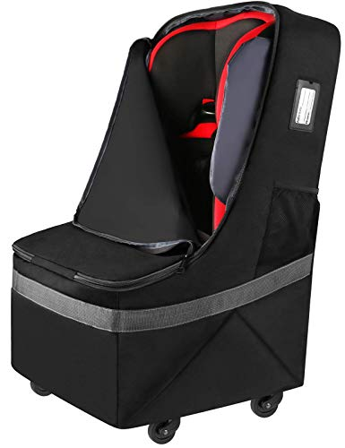 Car Seat Travel Bag with Wheels, Padded Car Seats Backpack, Large Durable Carseat Carrier Bag, Airport Gate Check Bag, Infant Seat Travel Bag with Padded Shoulder Strap,Travel Car Seat Cover, Black