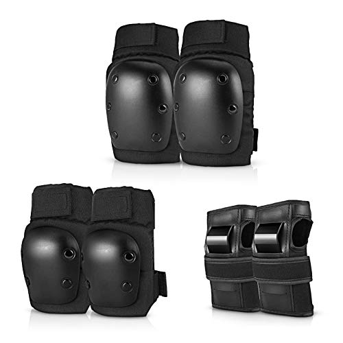 Fearls Knee Pads Elbow Pads and Wrist Guards - 6 in 1 Protective Gear Set for Kids Youth Adults Bicycling Cycling Bike Skateboard Inline Skate and Scooter(59kg~80kg)