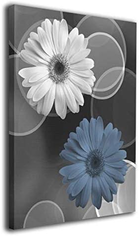Art Logo Black White Blue Gray Daisy Flower Modern Modern Wall Art On Canvas Contemporary Artwork product image