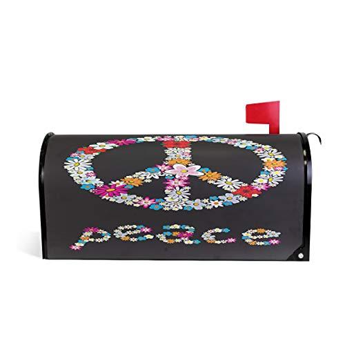 Wamika Paix Fleur Symbole Bienvenue magnétique Boîte aux Lettres Boîte aux Lettres Coque stratifiées, Noir Standard Taille Makover Mailwrap Garden Home Decor 64.7x52.8cm Multicolore