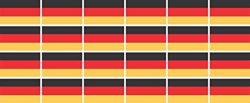 Mini Aufkleber Set - Pack glatt - 33x20mm - Sticker - Fahne - Germany - Deutschland - Flagge - Banner - Standarte fürs Auto, Büro, zu Hause & die Schule - 24 Stück
