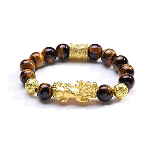 Feng Shui Bracelet Natural Tiger Eyes Stone Obsidian Beads Bracelet for Men Women with Alloy Gold Pixiu Charm Six Words' Beads Jewelry (Metal Color : Tiger Eye Stone, Size : 14mm)