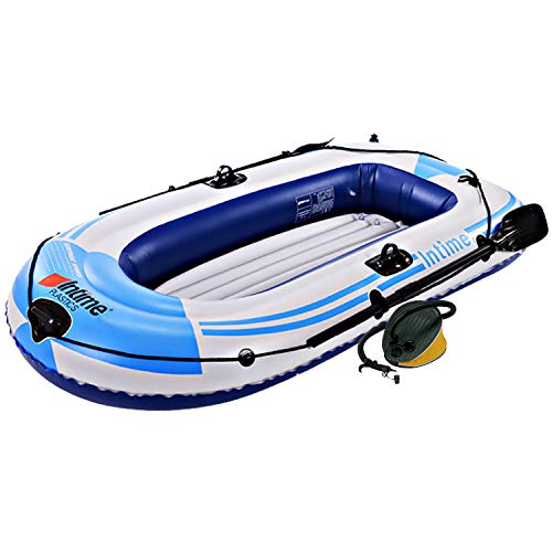 SOARRUCY Inflatable Boat Kayak for Adult - 2 Person Raft Kayak Portable Fishing Boat Inflatable Kayak for Adults and Kids Blow Up Sport Kayak Canoe Boat with Air Pump Pair of Oars and Rope