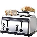WGHH Tostapane a Slot Lungo, tostapane Bagel, tostapane di Vetro con Sollevamento Automatico, Pannello in Vetro Slide-out e Vassoio briciovi Rimovibile