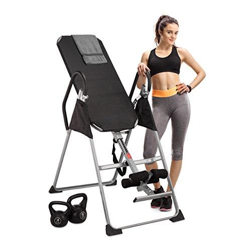 Relaxdays Tabla Inversora para Espalda Plegable, Fitness, Negro, 65 x 140 cm