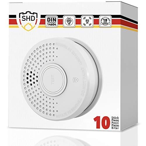 SHD Rauchmelder 10er Set mit 10 Jahre Garantie - DIN EN14604 und BSI Zertifiziert - 10 Stück Rauchwarnmelder inkl. 10x 9V Batterie (austauschbar) Feuermelder Brandmelder Feueralarm