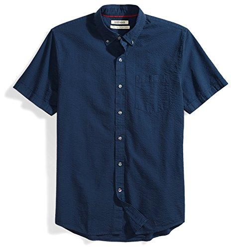 Goodthreads Standard-Fit Short-Sleeve Seersucker Shirt Buttondown-Hemd, solid navy, Large