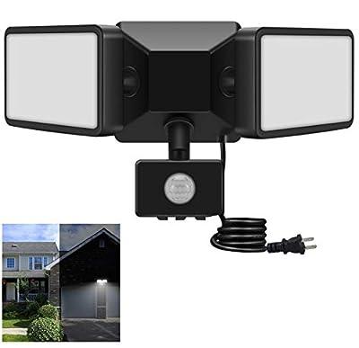 JUOYOU 20W Led Motion Sensor Flood Lights Outdoor, PIR Induction Lamp, Intelligent Light, Bright White, 6500K, IP65, 200W Bulb Equivalent, Super Bright Waterproof Security Floodlight