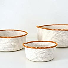 Juego de tres cestas de cuerda de algodón natural y ribete en color camello: Amazon.es: Handmade