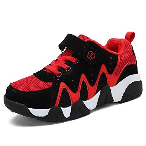 GURGER Sneakers Garçon Fille Chaussure de Course Enfant Mode Baskets Antidérapantes Running Shoes Kids Respirant Chaussure de Sport Noir Rouge 35