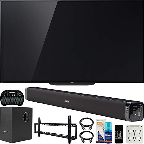 Sony XBR-77A9G 77 inch Master BRAVIA OLED 4K HDR Ultra Smart TV 2019 Model Bundle with Deco Gear 60W Soundbar, Wall Mount Kit, Wireless Keyboard, 6-Outlet Surge Adapter and Screen Cleaner