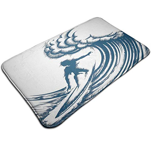 Bath Mat Non Slip,Abstract Silhouette of A Surfer Riding A Big Wave Hand Drawn Style Coastal Art,Ultra Absorbent Bathroom Rug