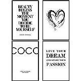 decomonkey | Poster 4er – Set schwarz-weiß Abstrakt