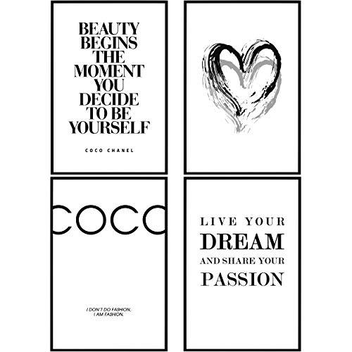 decomonkey   Poster 4er– Set schwarz-weiß Bilder Set Kunstdruck Wandbild Print Kunstposter Wandposter Posterset Spruch Herz