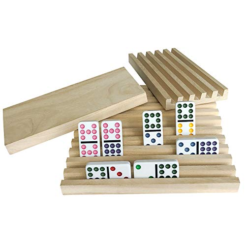 Wooden Domino Racks Set of 8 - Exqline Premium Domino Trays Holders Organizer for Mexican Train Chickenfoot and Other Domino Games - Dominoes NOT Included